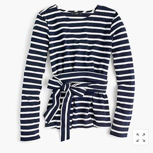 ⛵️ NWOT J. Crew Striped Belted Crossback Top xs